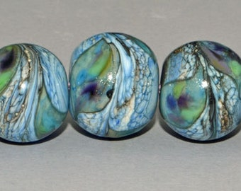 9 Organic Blues - Lampwork Beads SRA