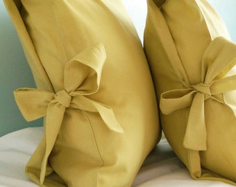 Handmade Soft Linen Ochre Tied Pillow Cover