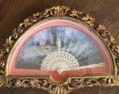 Beautiful framed antique fan with handpainted scene