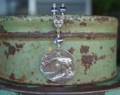 Solid Silver Crepsucule Twilight Bat Pendant Necklace with Blue Quartz and Fleur de Lys Connector
