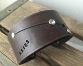 Leather zodiac cuff bracelet- Aries