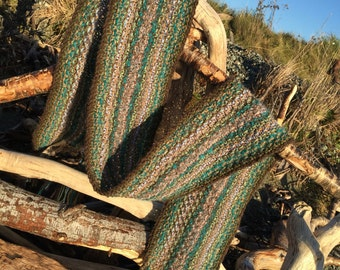 Moss And Driftwood Wool Scarf ~ Browns & Greens.