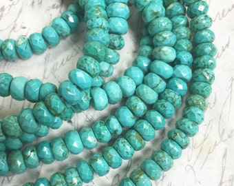 1 strand 6mm Turquoise rondel faceted Bead Full Bead Strand 15.5""