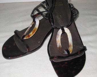 vintage Tortoise Patent Leather Sandals by Stuart Weitzman - size 8 medium