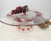 """Large Glass Cake Stand with Red Flashing / 14"""" Cake Plate / Dessert Pedestal for Garden Weddings / Vintage Plate Platter Tray"""