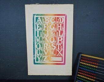 Vintage 1960s Alphabet Pop Art Silkscreen