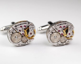 Steampunk Cufflinks Vintage Hamilton Watch Movement Mens Gear Cuff Links by Steampunk Vintage Design
