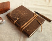 brown leather journal, vintage style cover, leather notebook, custom personalized quote, diary -  Archaic