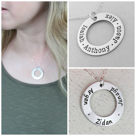 Silver personalized necklace - Silver or Gold-filled option - Simple Eternity mom necklace - Personalized Necklace - Mother Name Necklace