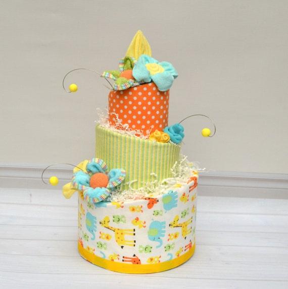 Diaper Cake, Gender Neutral Baby Gift, Safari Animal Baby Shower, Jungle Baby Gift, Unique Baby Shower Gift, Unisex Baby Gift