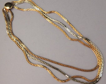 Elegant Vintage Gold and Silver Triple Chain Necklace / Multi Chain Necklace / Chain Necklace / Silver Chain / Gold Chain