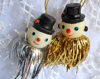 Vintage Christmas Ornament - Soft Rubber Snowmen with Tinsel - Pair