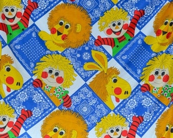Vintage Bedspread - 1970s Children's Novelty Dolls and Animals - Morgan Jones Twin Size