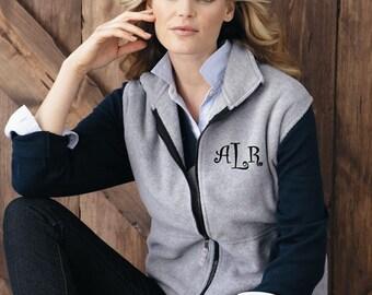 Preppy Personalized Monogrammed Fleece Ladies' Vest Personalized Microfleece Fleece