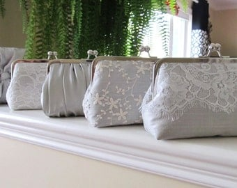 SALE, 20% Off, Mis Matched Bridesmaid Clutches Set of 5,Bridal Accessories,Wedding Clutch,Lace Clutch,Bridesmaid Clutch