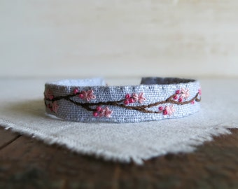 Cherry Blossom Embroidered Cuff Bracelet - Cherry Blossom Cuff - Hand Embroidered Bracelet