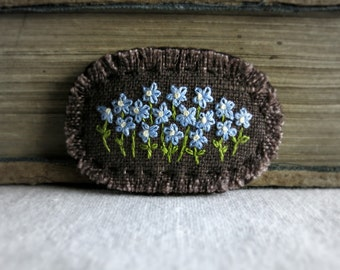 Forget Me Not Embroidered Brooch - Hand Embroidered Floral Brooch