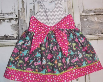 Divas Love Dinos Too! Big Bow Dress 2 3 4 5 6 7 8 10 Custom Boutique Birthday School Field Trips Dinosaur Museum Girly Pink Chevron