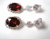 RUBY Bridal Earrings , Bridal Drop Earrings , CZ Earrings , Cubic Zirconia, Wedding Earrings, Oval, Halo, Rhinestone, Bridal Jewelry