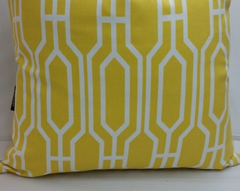 "RTS, Toss pillow 18"" square, yellow and white, Magnolia deco, geometric"