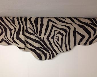 RTS shaped valance , 52 x 18 inches, zebra animal print, cotton, brown, beige