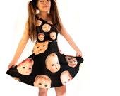 Creepy Doll Head Skater Dress - printed flared tank dress - women's summer dress - photographic dollheads dress - USA XS-3XL
