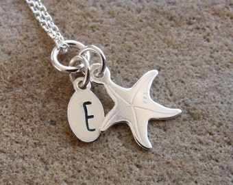 Kids Personalised Silver Starfish Necklace