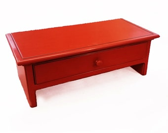 Large Red Computer Monitor Stand and Desk Organizer with Drawer