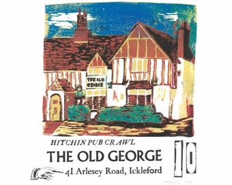 The Old George, Ickleford- Lino and Letterpress Print- Poster