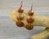 Three Circles, Copper Patina, Handcrafted Boho, Dangle Earrings mme9