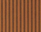 Dunroven House H-5056 Homespun Pumpkin Black Ticking Fabric 1/2 Yd Cut Off Bolt