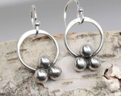 Tiny Sterling Silver Dangle Earrings with Ball Cluster, Nickel Free Handmade Drop Earrings with Small Circle and Silver Ball Accents