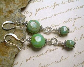 Boho Czech Picasso Bead With Sterling Silver Southwest Flair Earrings Turquoise Color