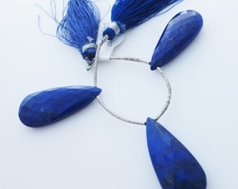 Lapis Lazuli Faceted Gemstone Briolette Focal Trio Qty 3