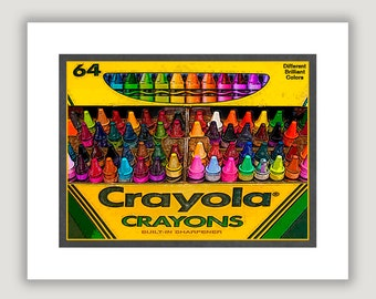 Unique Wall Art, Crayola Crayons, unique home decor, fun office art, dorm poster, colorful art print, box of 64 crayons, children's decor