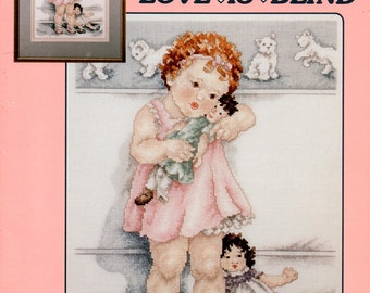 Bessie Pease Gutmann's Love Is Blind Red Curly Haired Blue Eyed Baby Girl With Doll Counted Cross Stitch Embroidery Craft Pattern Leaflet 51