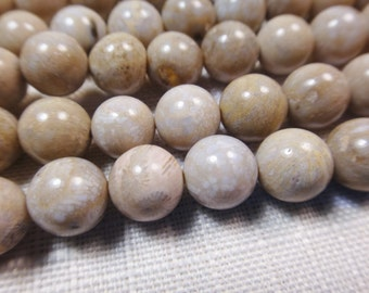 """26. Petoskey Fossil  8mm Round Bead 16"""" Inches Strand 47pcs Stones Beads"""
