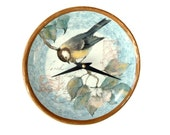 SILENT Chickadee Wall Clock, Bird Clock, Ceramic Plate Clock, Unique Wall Decor, Kitchen Clock, Bird and Floral Wall Clock - 1945