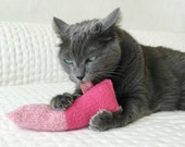 Organic Catnip Toy For Charity Wool Felt Twist Kicker Hand Knitted Felted Pink For Cats Pets Entire purchase Price Goes To Charity
