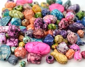 Marbled Glass Beads, 75 Pieces, Mixed Sizes and Shapes, Crow Beads, 2-3mm Hole -B465
