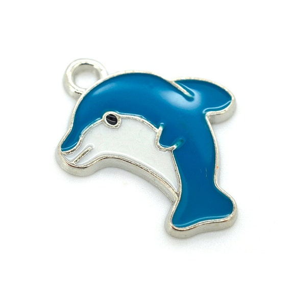 dolphin charms enamel charms 5 pcs blue dolphin by hempbeadery