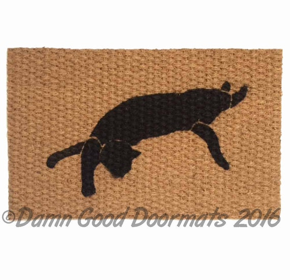 Like this item?  sc 1 st  Etsy & Black cat doormat cat lady door mat stretching cat cat