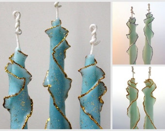 Holiday Candle Gift Set, 3 to 6 Glitter Rose Taper Candles, You Choose Size & Color, Unique Taper Candles w/ Silver Gold, Decorative Candles