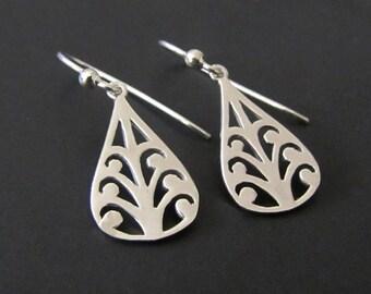 Modern Teardrop Earrings, Drop Earrings, Dangle Earrings, Sterling Silver Jewelry, Gift