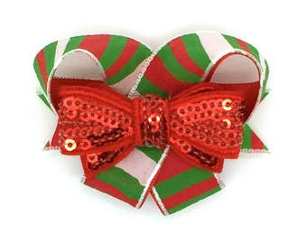 Going Caroling Snap-In Dog Bows® Bow (single) Dog Hair Bow, Dog Collar Bow, Pet Harness Bow, Therapy Dog Gift, Cat Collar Bow, Christmas Bow