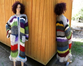 Fall Sale, Hand Knitted Sweater Coat, Knit Coat, Long Sleeve, Multi Oversize Sweater,Chunky Knit Coat, Loose Knit Sweater Coat,Coat Cardigan