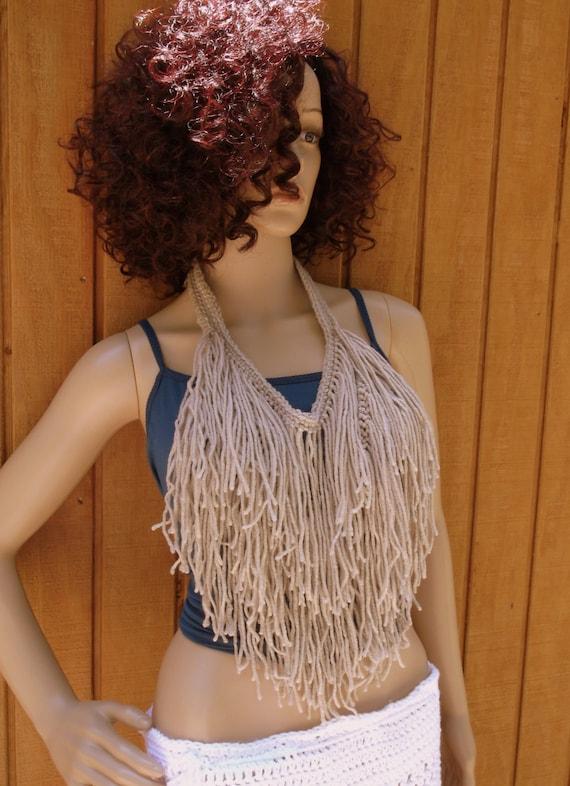 New Strings Neck Wear, Crochet Fringe Necklace, Fringe Neck Wear, Urban Chic Neck Wear