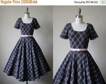 ON SALE 1950s Dress - Vintage 50s Dress - Grey Pink Soft Wool Bias Plaid Circle Skirt Party Dress XS S - Still I Rise Dress