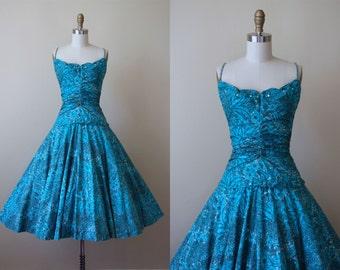 50s Dress - Vintage 1950s Dress - Turquoise Novelty Rhinestone Circle Skirt Designer Cotton Sundress XS - Strike Up The Band Dress