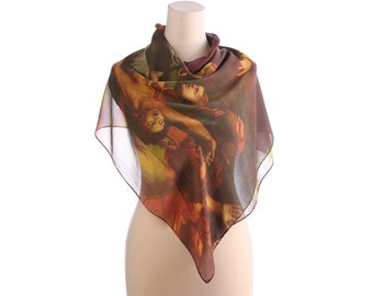 RENAISSANCE ART Scarf 70s Crepe Silk Rustic Brown Green Vintage Retro Painting Print 1970s Large Shawl Hand Rolled Edges Rare Gift Idea